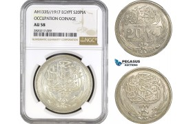 AE208, Egypt (Occupation Coinage) 20 Piastres AH1335 (1917) Silver, NGC AU58