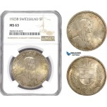 AE230, Switzerland, 5 Francs 1923-B, Bern, Silver, NGC MS63