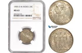 AE244, Danish West Indies, Christian IX, 1 Franc - 20 Cents 1905, Copenhagen, Silver, NGC MS63