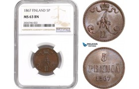 AE248, Finland, Alexander II. of Russia, 5 Penniä 1867, NGC MS63BN