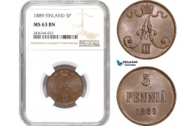 AE249, Finland, Alexander III. of Russia, 5 Penniä 1889, NGC MS63BN