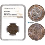 AE251, France, Napoleon III, 5 Centimes 1865-A, Paris, NGC MS63BN