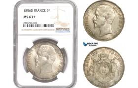 AE252, France, Napoleon III, 5 Francs 1856-D, Lyon, Silver, NGC MS63+, Pop 1/1, Rare!
