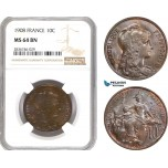 AE255, France, Third Republic, 10 Centimes 1908, NGC MS64BN, Pop 2/0