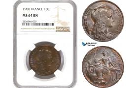 AE255, France, Third Republic, 10 Centimes 1908, NGC MS64BN, Pop 2/0