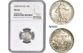 AE256, France, Third Republic, 50 Centimes 1898, Silver, NGC MS64
