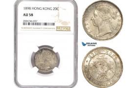 AE259, Hong Kong, Victoria, 20 Cents 1898, Silver, NGC AU58