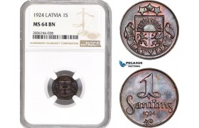 AE261, Latvia, 1 Santims 1924, NGC MS64BN
