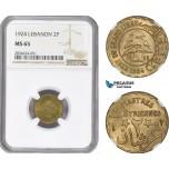 AE262, Lebanon, 2 Piastres 1924, NGC MS65