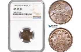 AE263, Lithuania, 2 Centai 1936, NGC MS65BN