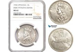 "AE264, Lithuania, 10 Litu 1936, Silver ""Duke Vytautas Didysis"" NGC MS62"