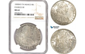AE265, Mexico, Charles IV, 8 Reales 1808 Mo TH, Mexico City, Silver, NGC MS62