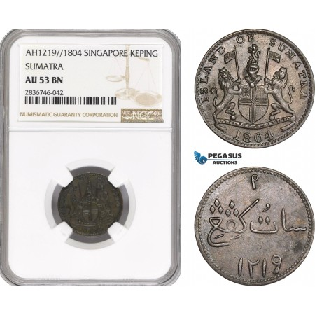 AE266, Netherlands East Indies, Sumatra, 1 Keping AH1219 /1804, NGC AU53BN