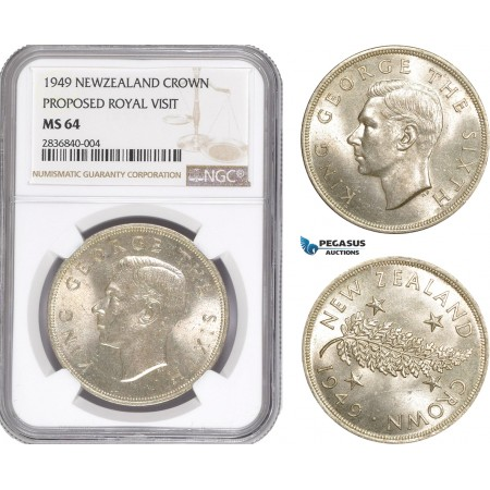 AE267, New Zealand, George VI, Crown 1949, Silver, Proposed Royal Visit, NGC MS64
