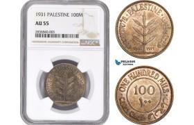 AE268, Palestine, 100 Mils 1931, London, Silver, NGC AU55, Rare!