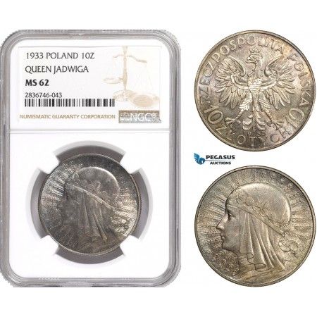 AE269, Poland, 10 Zlotych 1933 (Queen Jadwiga) Silver, NGC MS62