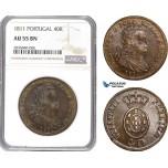 AE270, Portugal, Joao VI, 40 Reis (Pataco) 1811, Lisbon, NGC AU55BN