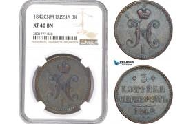 AE274, Russia, Nicholas I, 3 Kopeks 1842 СПМ, Izhora, NGC XF40BN