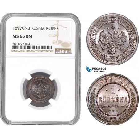 AE281, Russia, Nicholas II, 1 Kopek 1897, St. Petersburg, NGC MS65BN