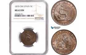 AE285, Spain, Provisional Government, 5 Centimos 1870-OM, Barcelona, NGC MS63BN