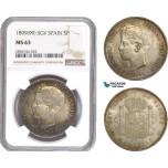 AE286, Spain, Alfonso XIII, 5 Pesetas 1899 (99) SGV, Valencia, Silver, NGC MS63