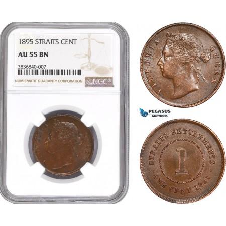 AE287, Straits Settlements, Victoria, 1 Cent 1895, NGC AU55BN