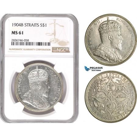 AE288, Straits Settlements, Edward VII, 1 Dollar 1904-B, Bombay, Silver, NGC MS61