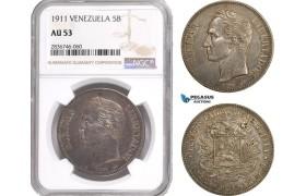 AE289, Venezuela, 5 Bolivares 1911, Paris, Silver, NGC AU53