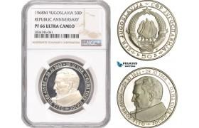 AE290, Yugoslavia, 50 Dinara 1968-NI, Silver (Republic Anniversary) NGC PF66UC
