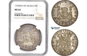 AE291, Mexico, Philip V, 8 Reales 1745 Mo MF, Mexico City, Silver, NGC MS64