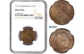 AE293, Australia, George V, 1/2 Penny 1913, London, NGC MS62BN, Pop 1/0