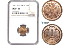 AE294, Austria, Franz Joseph, 1 Heller 1893, Vienna, NGC MS64RB