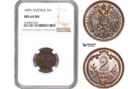 AE295, Austria, Franz Joseph, 2 Heller 1896, Vienna, NGC MS64BN, Top Pop!