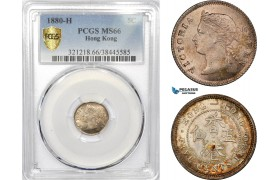 AE317, Hong Kong, Victoria, 5 Cents 1880-H, Heaton, Silver, PCGS MS66