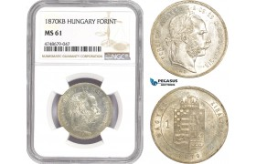 AE318, Hungary, Franz Joseph, Forint 1870 KB, Kremnitz, Silver, NGC MS61, Top Pop!