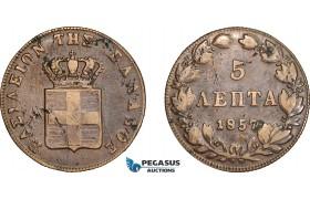 AE360, Greece, Othon, 5 Lepta 1857, Athens, VF