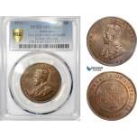AE402, Australia, George V, Penny 1920, Dot above bottom scroll, Indian Obv., PCGS MS65BN