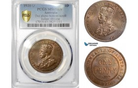 AE402, Australia, George V, Penny 1920, Dot above bottom scroll, Indian Obv., PCGS MS65BN