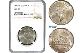 AE403, British East Africa, George VI, 1 Shilling 1937-H, Heaton, Silver, NGC MS65