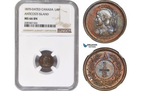AE405, Canada, Anticosti Island, 1/8 Penny 1870-Dated, NGC MS66BN, Pop 1/0