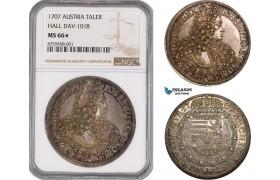 AE459, Austria, Joseph I, Taler 1707, Hall, Silver, Dav-1018, NGC MS66*, Pop 1/0