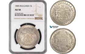 AE474, Bulgaria, Alexander I, 5 Leva 1885, St. Petersburg, Silver, NGC AU58