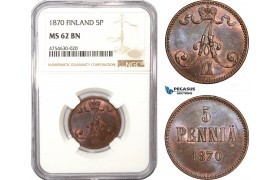 AE493, Finland, Alexander II. of Russia, 5 Penniä 1870, NGC MS62BN, Rare!