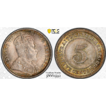 AE601, Straits Settlements, Edward VII, 5 Cent 1903, Silver, PCGS MS65