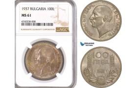 AE615, Bulgaria, Boris III, 100 Leva 1937, Silver, NGC MS61