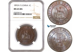 AE647, French Indo-China, 1 Centime 1892-A, Paris, NGC MS65BN, Top Pop!