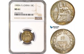 AE648-R, French Indo-China, 10 Centimes 1900-A, Paris, Silver, NGC MS61