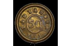 AE715, Colombia, (Thousand Days' War) Santander, 50 Centavos 1902, Brass, KM# A3, XF