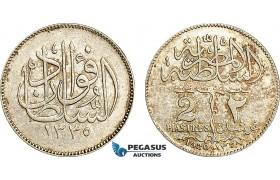 AF004, Egypt, Occupation Coinage, 2 Piastres AH1335 /1920-H, Heaton, Silver, AU