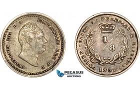 AF223, Essequibo & Demerary, William IV, 1/8 Guilder 1832, Silver, XF-AU